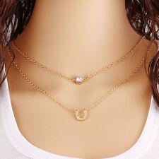 Gold Double Crystal U Pendant Chain Chunky Statement Bib Necklace Charm Jewelry