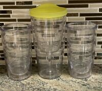 Lot Of 4 Tervis Tumblers 16oz Clear Drinkware Hot Cold Insulated / Wine w/ lid