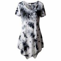 Women's Casual T-shirt O-neck Blouse Ptinted Short Sleeve Irregular Tops Plus
