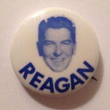 Button Ronald Reagan presidential pin back political Reagan face name in blue