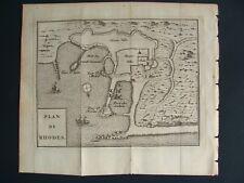 RHODES GREECE MAP  by DE BEREY FILS 1726 PLAN  DE  RHODES