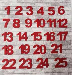 Felt Advent Calendar Numbers Red Self Adhesive Christmas Kit Embellishments UK