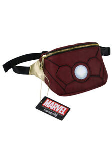 Loungefly x Iron Man Mini Fanny Pack Arc Reactor Red Disney Marvel Waist Bag New
