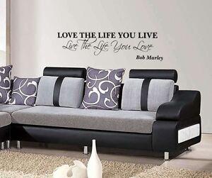 Bob Marley Love the life you live wall art sticker Lounge Bedroom Home Decor diy