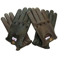 New Prime top quality real soft leather men's driving gloves black brown tan 502