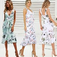 Womens Boho Floral Sexy Strappy Ruffle Dresses Ladies Summer Holiday Beach Dress