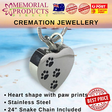 Cremation Jewellery -  Heart with double paw prints