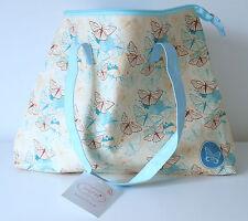 Tote Bag in Cream Blue Liner Zipper Pocket & Blue Handle Butterfly Design