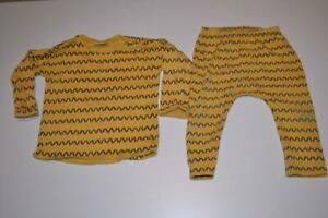 BOYS YELLOW ZIG ZAG PATTERN PRINT NEXT TOP & LEGGINGS BOTTOMS OUTFIT 9-12 MONTHS