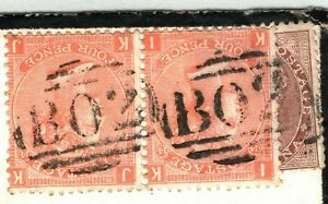 GB USED ABROAD Egypt INDIA Cover MIXED FRANKING Forward Suez 1875 Cornwall A4G1