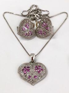 14k White Gold Diamond & Pink Sapphire Heart Earrings & Pendant Set Chain 1.68Ct