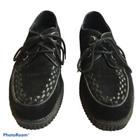 "Mens Demonia Size 12 Black 1"" Platform Creepers D Ring Lace Up Interwoven Apron"