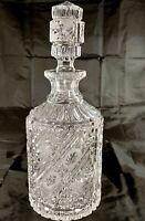 Vtg ABP American Brilliant Cut Crystal Liquor Decanter 8 Pt. Hobstar CrossHatch