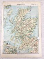 1894 Antique Map of Scotland Lower Clyde Dundee Edinburgh 19th Century
