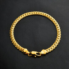 Men Flat Snake Bone Bracelet Chain 18K gold plated Curb herringbone Chain Xmas
