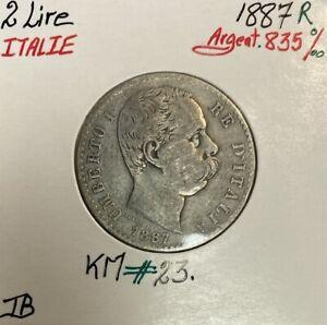 ITALIE - 2 LIRE 1887 R - Pièce de Monnaie en Argent // Qualité : TB