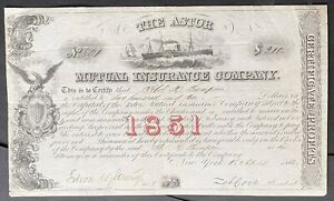ASTOR MUTUAL INSURANCE COMPANY Stock 1852. New York City. Shipping - Merchandise