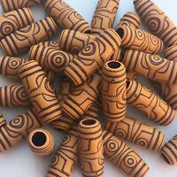 20X Tribal Pattern Beads 27x10mm Tube Acrylic Macrame Craft Dreadlock Brown Bead