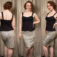 White House Black Market 6 Champagne Silver Holiday Sequin Mini Pencil Skirt