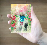 ACEO Girl dog flowers abstract  landscape original oil canvas painting art card