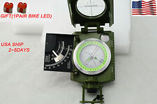 USA! Military Metal Sighting Folding Compass Inclinometer Outdoor trip +gift led