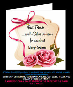 Best Friends are the Sisters We Choose for Ourselves, Rose Design Christmas Card