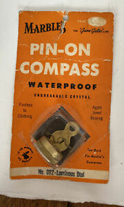 VINTAGE MARBLES PIN-ON COMPASS ORIGINAL PACKAGING
