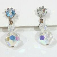 Vintage AB aurora borealis crystal drop dangle screwback earrings unpierced ears