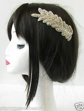 Silver Diamante Leaf Hair Comb Flapper Vintage 1920s Great Gatsby Headpiece R78