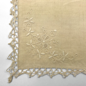 """Vintage Embroidered Linen Tatted Lace Napkins Set of 5 Cream/Ivory 16"""" Beige"""