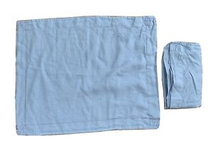 ANTHROPOLOGIE  20 x 26 Blue Linen Pillow Shams Red Contrast Stitching Pair of 2