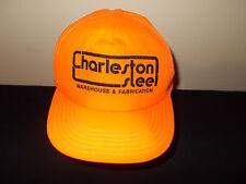 VTG-1990s Charleston Steel neon flourescent orange nylon snapback hat sku24
