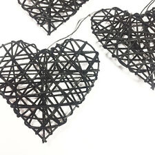 TRIO OF BLACK 10cm RUSTIC RATTAN HANGING LOVE HEARTS WEDDING GIFT DECORATION