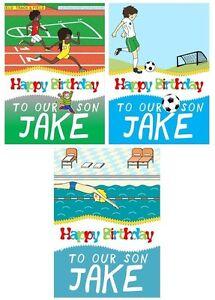 PERSONALISED SPORTS BIRTHDAY CARD - 3 DESIGNS