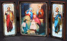 "ORTHODOX Triptych ICON Nativity of the Theotokos Рождество Богородицы 5""x3"""