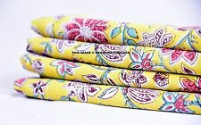 10 Yard Cotton Voile Indian Hand Block Printed Dress Sewing Craft Sheer Fabric