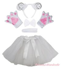 Halloween Party White Sheep Goat Adult Headband Paw Tail Bow Skirt Costume Set