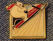1994 Coke Polar Bear Olympic Pin~Lillehammer~Sponsor~Coca Cola~Snowmobile