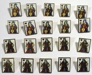 20 Vtg JHB International Metal Enamel Cloisonné Novelty BUTTONS King Queen Cards