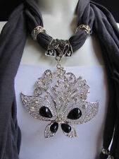 WOMEN DARK GRAY FABRIC FASHION SCARF NECKLACE SILVER FLOWERS BUTTERFLY PENDANT