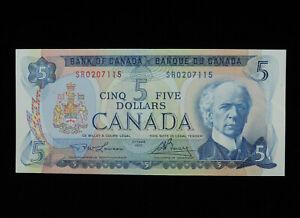 1972 $5 Five Dollar Bank of Canada Banknote SR 0207115 Lawson Bouey AU-UNC Grade
