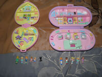 Vintage 90's Lot Blue Bird Polly Pocket Compact Play sets 10 Figures 1 Cat Mix