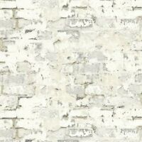 Wallpaper Designer White Taupe Gray Faux Stucco Brick