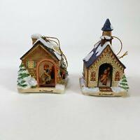 Lot 2 Porcelain M.J. Hummel 1999 Bradford Ed. Christmas House Light Covers