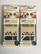 (2) Kiss Nail Gel Dress Gel Polish Strips  60458 Majestic (Gold Stud Designs)