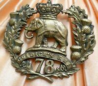VICTORIAN 78TH SEAFORTH HIGHLANDER CAP BADGE QVC BRASS 2 LUGS ANTIQUE ORIGINAL