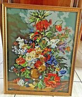 Vintage Needlepoint in Frame Flowers in Bowl Gold Wood Frame 26.75 Tall Handmade