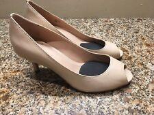 Women Tahari Nude Leather Peep Toe Pumps Jayne Size 6 1/2 M
