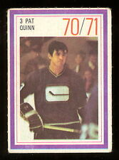 1970-71 ESSO POWER PLAYERS NHL #3 PAT QUINN EX+ VANCOUVER CANUCKS UNUSED STAMP