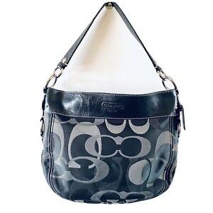 Coach Black & Grey Signature Canvas Leather Trim Hobo Shoulder Bag Y2K Med-Large
